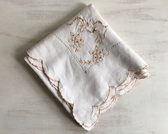 Small Ecru Colored Vintage Tablecloth With Exquisite Needlework