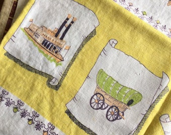 Old Fashioned, Early American Style Yellow Print Kitchen Tablecloth