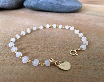 personalized rainbow moonstone bracelet heart with initial heart bracelet moonstone Jewelry moonstone rosary chain June Birthstone monogram