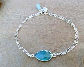 Aquamarine bracelet with heart initial bracelet Aqua bracelet Blue Quartz Aquamarine Jewelry 925 sterling silver heart beach jewelry gift