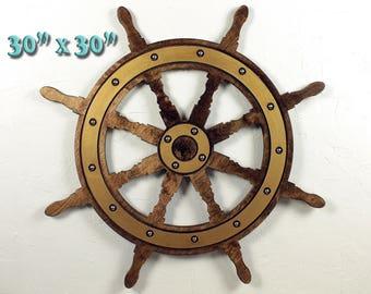 Large Ships Wheel Nautical Nursery Beach Decor Nautical Decor Ideas Nautical Wall Art Nautical Items Nautical Decorating ---READY TO SHIP---