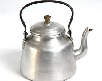 Vintage aluminum teapot old kettle, Teapot shabby chic white, Retro kitchen decoration, Collectible teapot