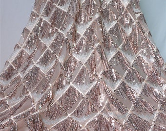 2018 New Very High Quality!! 1Yard  Sequin Lace Fabric,Crochet Fringe Lace  Dress Fabric,3D Embroidery Dress Fabric,Rose Gold Sequin Dress