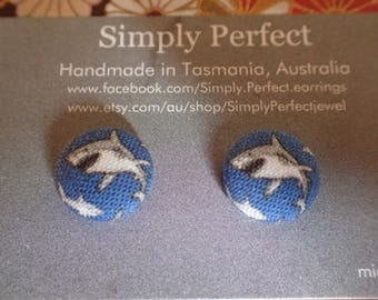 Shark fabric button earrings/studs or clip ons.