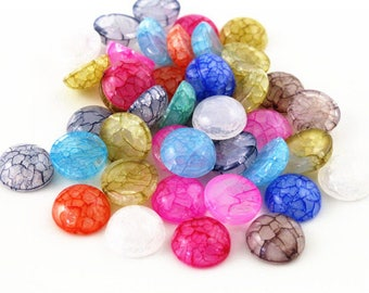 X 10 plain Cabochons cracked mix color resin 12mm