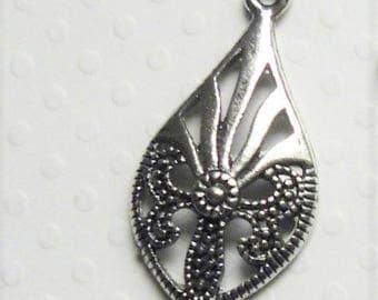 X 2 Tibetan silver filigree drop