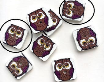 X 7 square buttons wooden Brown owl (hole width) 15X15mm