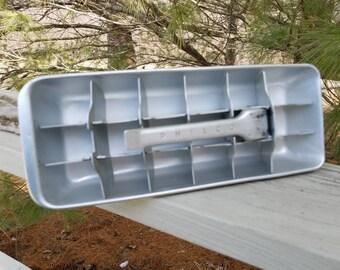 Philco Ice Cube Tray Aluminum with Pattern 18 Cube Tray