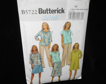 Womens Skirt Pants Butterick B5722 Womens 18W-24W Top Dress Pattern Lifestyle Wardrobe