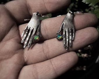 Sterling Silver Hand Earrings with Ethiopian Opals