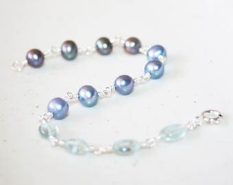 Aquamarine and Blue Black Pearl Bracelet, Sterling Silver, Genuine Freshwater Pearls, Beaded Bracelet, June and March Birthstone