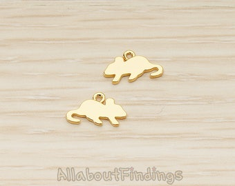 PDT1600-G // Glossy Gold Plated Silhouette Mouse Rat Hamster Pendant, 2 Pc
