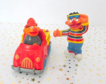 Pair- 1980s  Ernie, Muppets toys, Playskool toys, Metal Firetruck  Fast food toys, metal vehicles, vintage mini toys