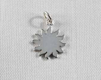 Sun Charm, Sterling Silver Sun Charm with Curved Sunbursts, Celestial Charm,Sun and Moon, Astrological Charm, Sterling Silver Charm Bracelet