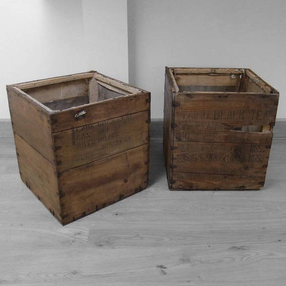Pine Vintage Tea Chest Trunk Box Crate Storage Box Display Shop Log Basket