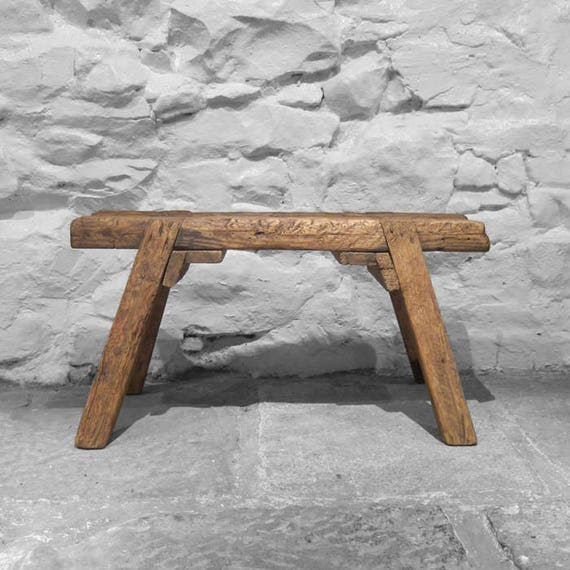 Antique Pine Rustic Joiners Carpenters Horse Bench Seat Side Table