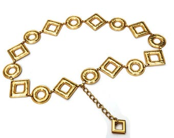 """Metal Chain Belt,Made in Spain,Chunky Gold Tone Belt,High End Runway Belt,Vintage Belt Adjustable to approx 36"""",Glamour Disco Boho Accessory"""