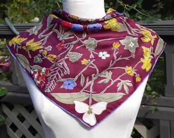 Vintage Vera Scarf,Burgundy Floral Scarf,70s Vera Neumann Made in Japan,Rayon & Silk Scarf,Vera Headscarf w Trademark Ladybug,Square Scarf