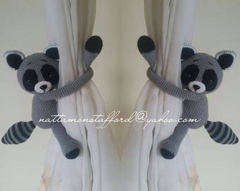 A pair of Raccoon Crochet curtain tie back,  Crochet Raccoon,Nursery tie backs.*** MADE TO ORDER***