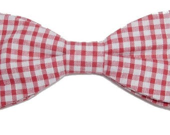 Bow tie red and white gingham with straight edges