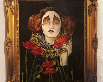 Harlequin with red poppies oil painting, oil painting, poppies flowers, portrait, botanical portrait, harlequin and flowers, harlequin, goth