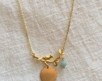 Personalized Jewelry- 14k gold plated bird necklace - Add your initial!