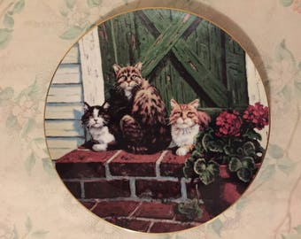 Sun Worshippers Collector Plate LOWELL DAVIS Schmid RARE Friends of Mine Cats