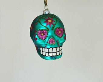 Aqua Day of the Dead Sugar Skull