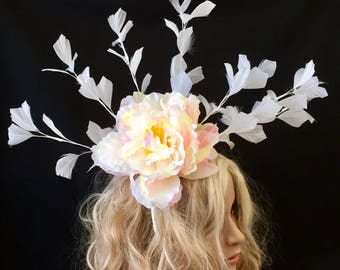 White Fascinator, Peony Fascinator, White Feather Fascinator, White Peony Fascinator