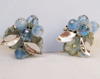 Vintage Coro CLUSTER EARRINGS Blue Glass Beads Acrylic Flowers Silver Metal Leaves AB Clip back