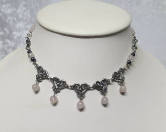 Pewter hearts necklace with Rose Quartz CCS154