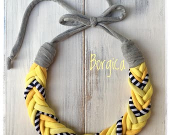 Monocrome yellow tshirtyarn necklace - upcycled necklace, textil jewelry, eco friendly necklace, colorful jewellery