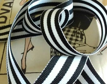 "Black and White Striped Ribbon, Striped Grosgrain Ribbon 7/8"""