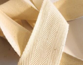 "Cotton Twill Tape, Natural Ivory Herringbone Ribbon 1"" inch"