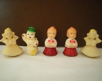 5 vtge candles-Christmas candles-2 choir boys-2 angels-1 snowman-mantel decor-Holiday candles-