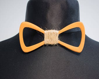 Orange Wooden Bow Tie/Custom engrave/Personalised gift for Him/Her/Handmade/Birch Plywood Bow Tie/Unique Bow Tie/Butterfly Bow Tie