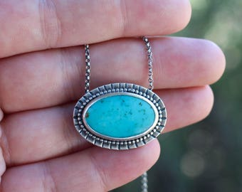 Natural Blue Turquoise Pendant Necklace | Sterling Silver Jewelry | December Birthstone | Bohemian Jewelry