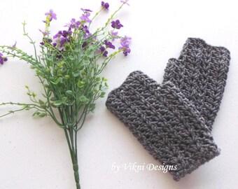 Grey Crochet Fingerless Gloves, Hand warmer, winter gloves, women mittens by Vikni Designs