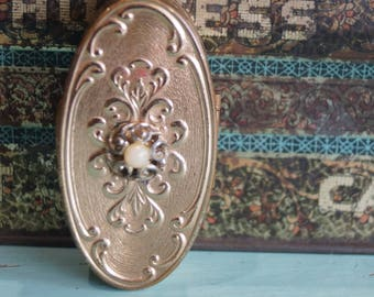 Vintage Max Factor Mirrored Lipstick Case Decorated with Swirl Design & Pearl and Lipstick