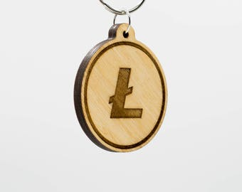 Litecoin Symbol Keychain - LTC - Litecoin Wooden Keychain - Litecoin Cryptocurrency - Litecoin Digital Currency Keychain - Lightcoin KeyRing