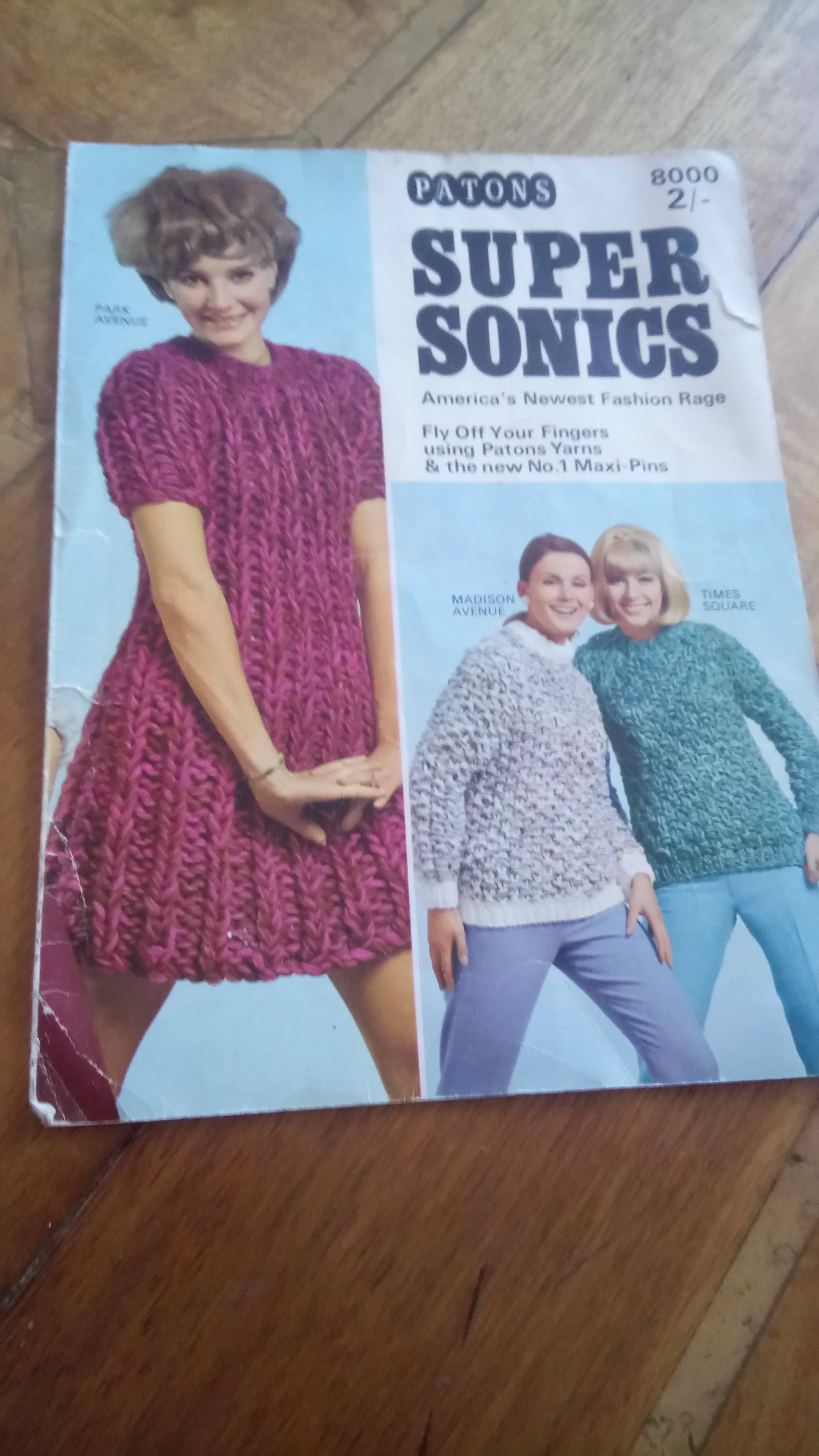 Vintage 1960s knitting pattern patons super sonics maxi pins sold by ouprettythings123 bankloansurffo Gallery