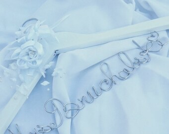 Decorative Bride Hanger With White Flowers, Personalized Gift For Bride