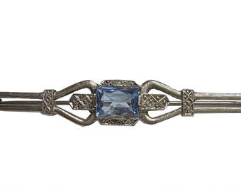 Magnificent silver art nouveau blue topaz brooch around 1920