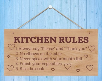 Kitchen Rules   Decorative Wooden Hanging Plaque   Present   Gift   Love    Sign