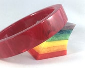 Vintage Bakelite Bracelet - Rare Raspberry Red Prystal Marblette Slice Polished Bakelite Bangle 9/16""