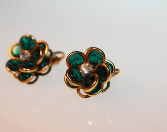 Green Flower Clip on Earrings