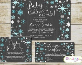 Baby It's Cold Outside Baby Shower Invitation, Winter Books for Baby, Snowflake Baby Shower, Diaper Raffle, Winter Baby Shower, 9874