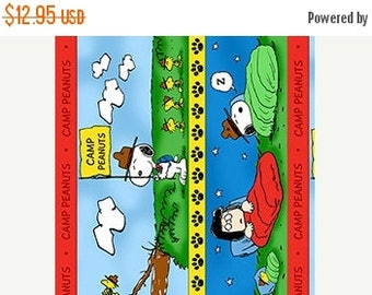 Summer Sale- Camp  Peanuts Scenic Stripe Cotton Fabric by Quilting Treasures Fast Shipping,CH330