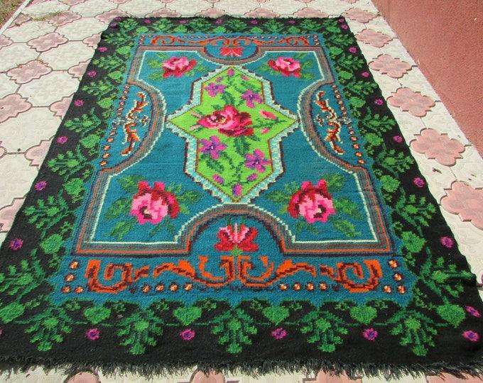 Floor Runner,Organic Rug Runner, Colorful Kilim, Pink Colored Rug,Boho Rug. Flatweave Rug. Vintage handwoven wool rug carpet. Moldova carpet