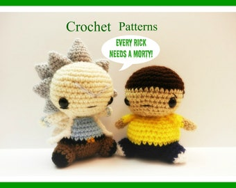 Crochet Pattern for Chibi Rick and Morty COMBO (Plus Pickle Rick Pattern) From Rick and Morty ~PATTERNS~